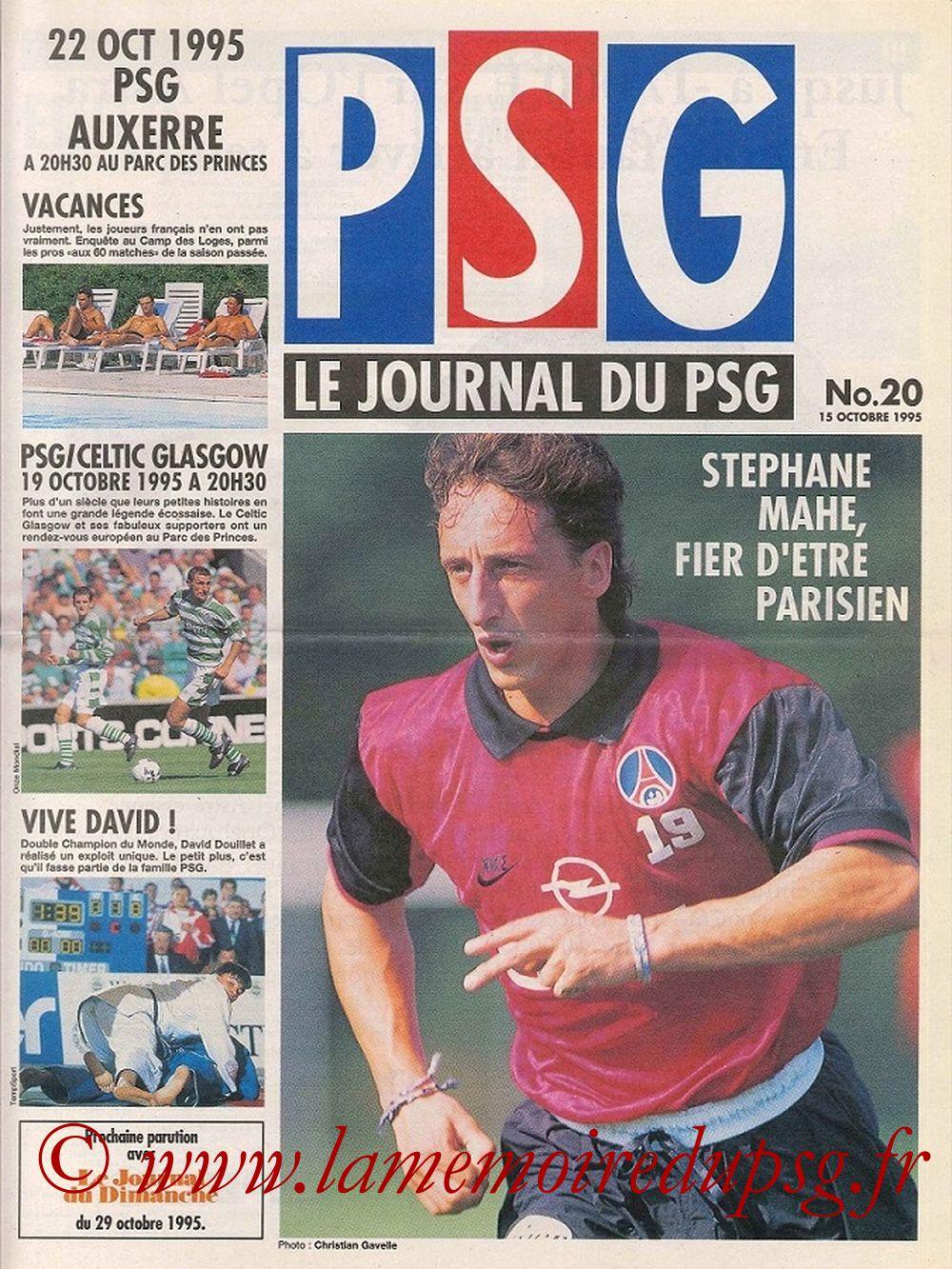 1995-10-19  PSG-Celtic (8ème Finale Aller C2, Le journal du PSG N°20)
