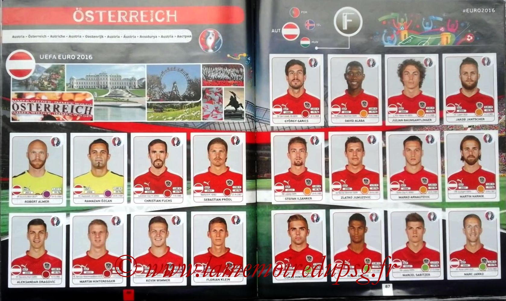 Panini Euro 2016 Stickers - Pages 86 et 87 - Autriche