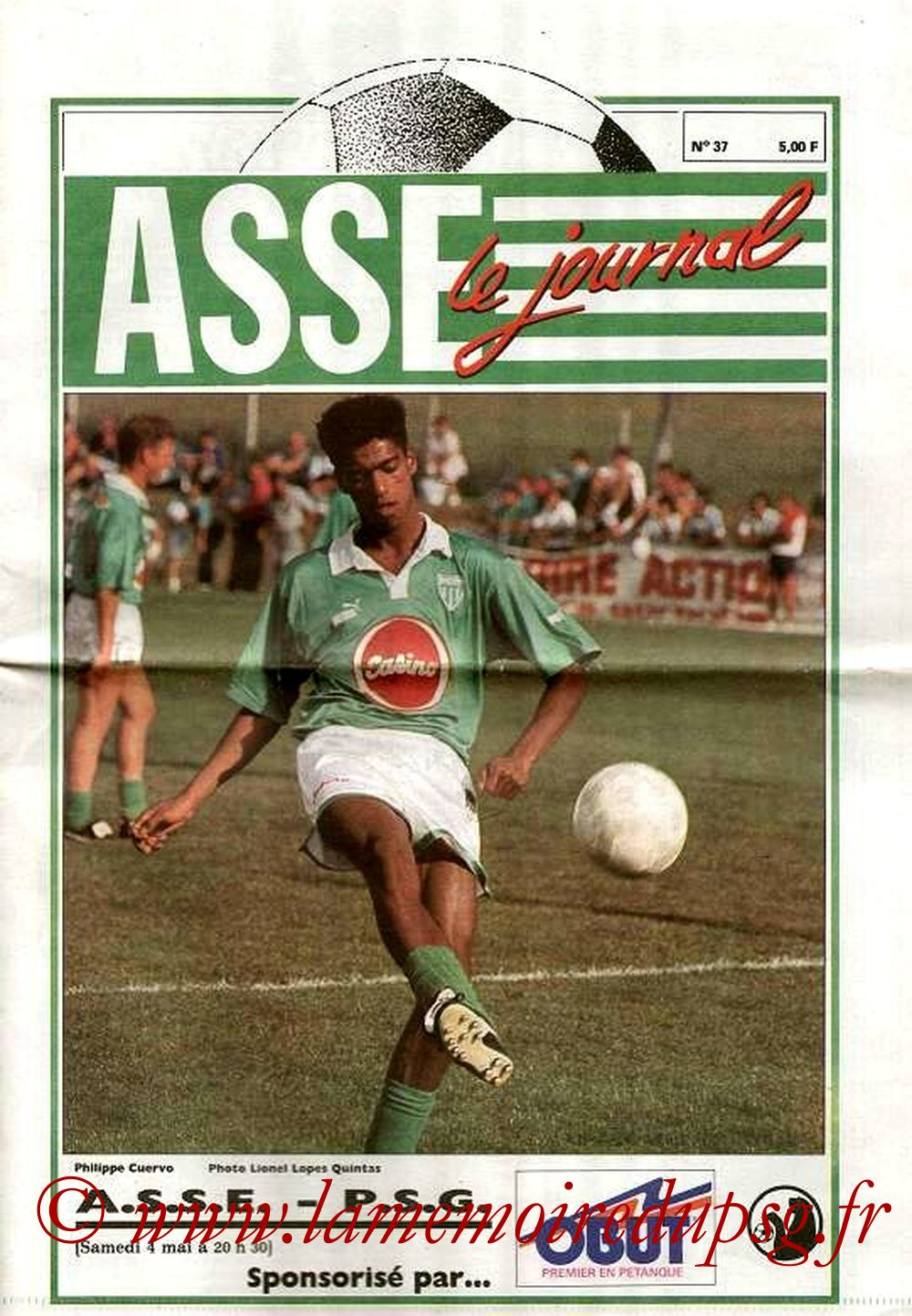 1991-05-04  Saint Etienne-PSG (35ème D1, ASSE Le journal N°37)