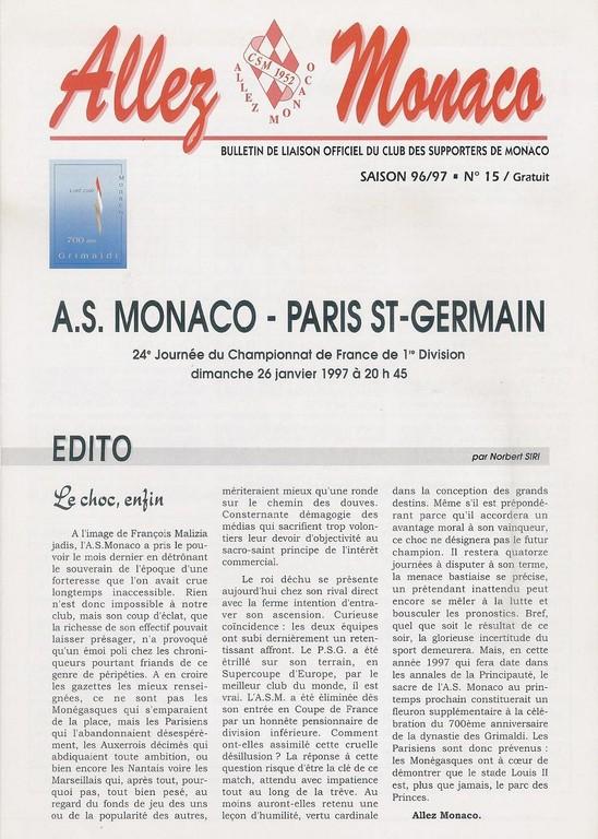 1997-01-26  Monaco-PSG (24ème D1, Allez Monaco N°15)