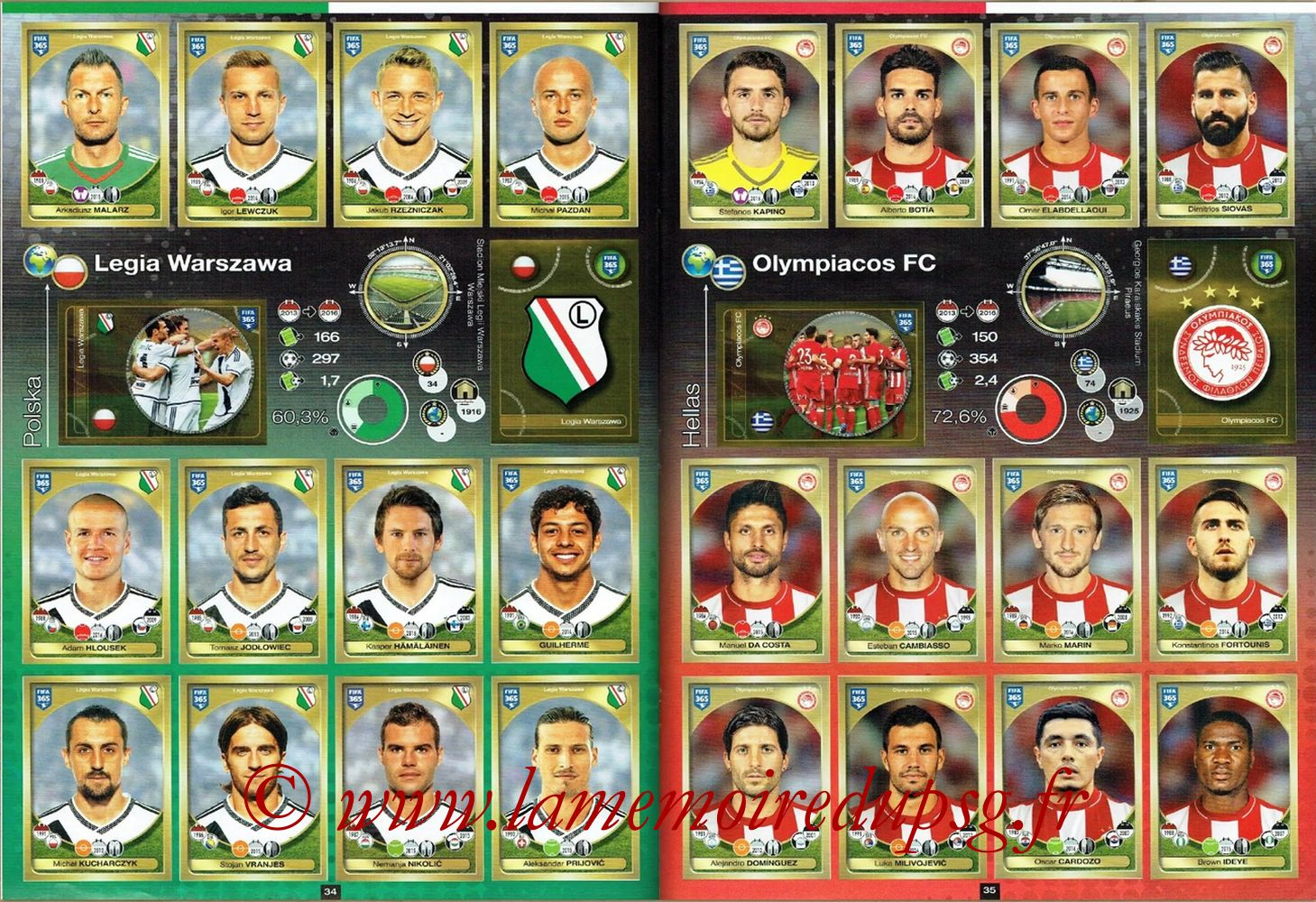 2016-17 - Panini FIFA 365 Stickers - Pages 34 et 35 - Legia Varsovie + Olympiacos FC