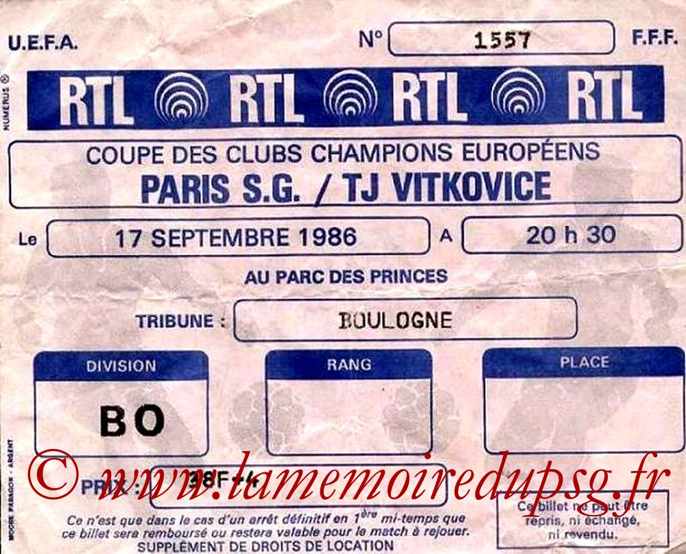 Ticket  PSG-Vitkovice  1986-87