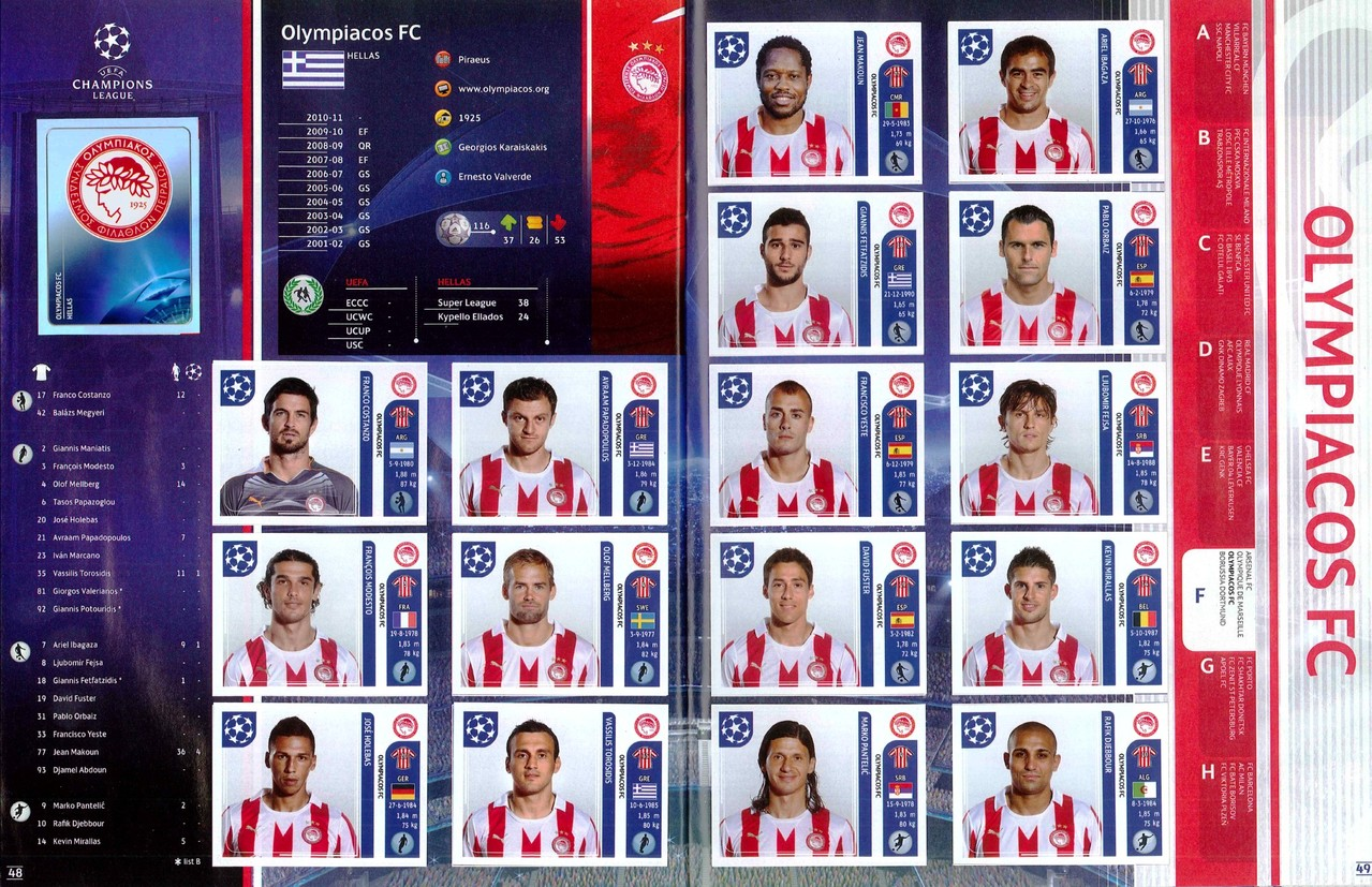 2011-12 - Panini Champions League - Pages 48 et 49 - Olympiakos