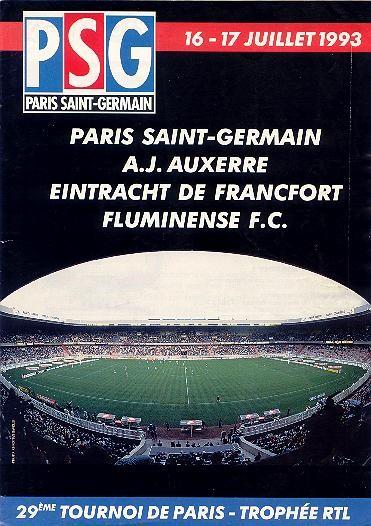 1993-07-16 et 17  PSG-Fluminense et PSG-Auxerre(29ème Tournoi de Paris, Programme Officiel N° HS)