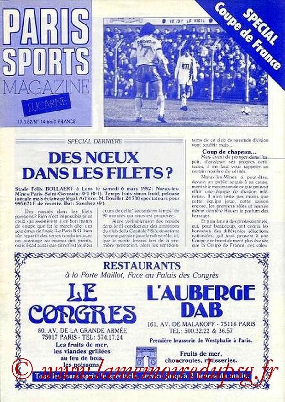 1982-03-17  PSG-Noeux-les-Mines-PSG (16e Retour CF, Paris Sports Magazine N°14 bis)