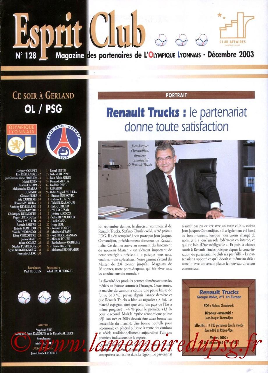2003-12-19  Lyon-PSG (19ème L1, Esprit Club N°128)