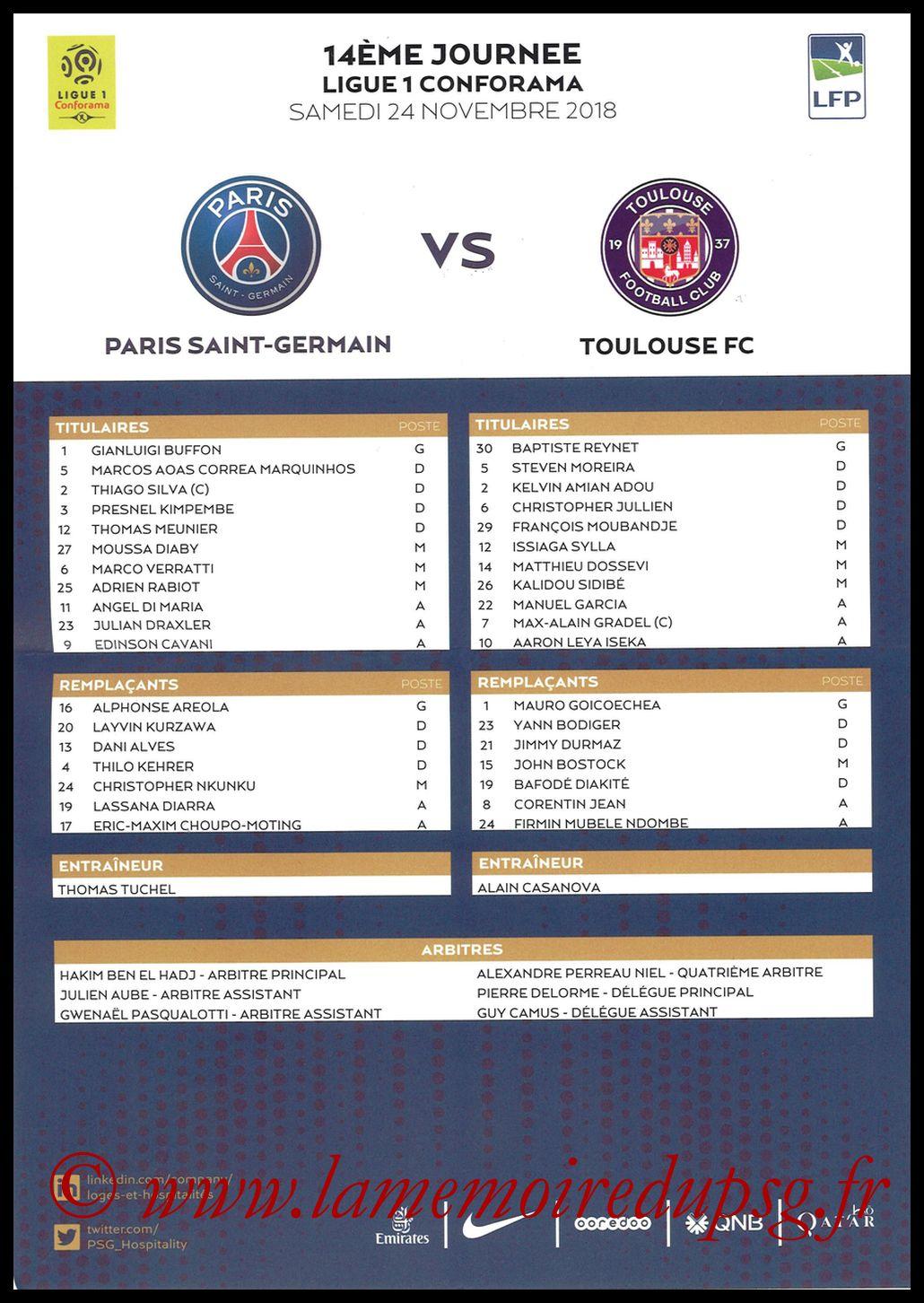 2018-11-24  PSG-Toulouse (14ème L1, Feuille de match)