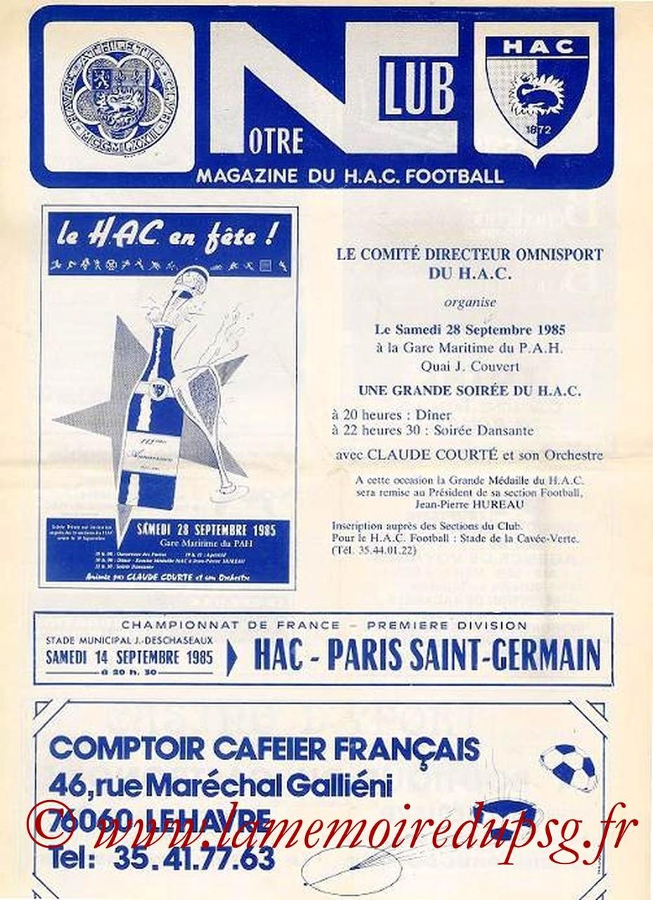 1985-09-14  Le Havre-PSG (11ème D1, Notre Club)