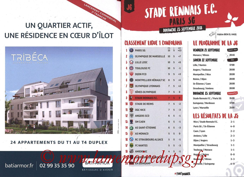 2018-09-23  Rennes-PSG (6ème L1, Programme officiel) - Pages 02 et 03