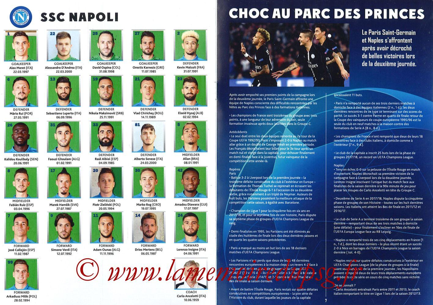 2018-10-24  PSG-Naples (3ème Poule C1, Programme pirate) - Pages 06 et 07