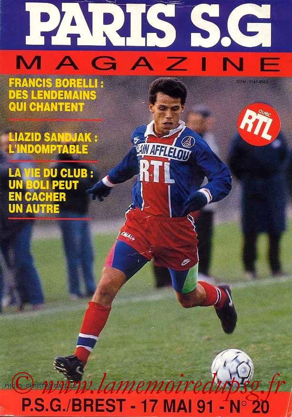 1991-05-17  PSG-Brest (37ème D1, Paris SG Magazine N°20)