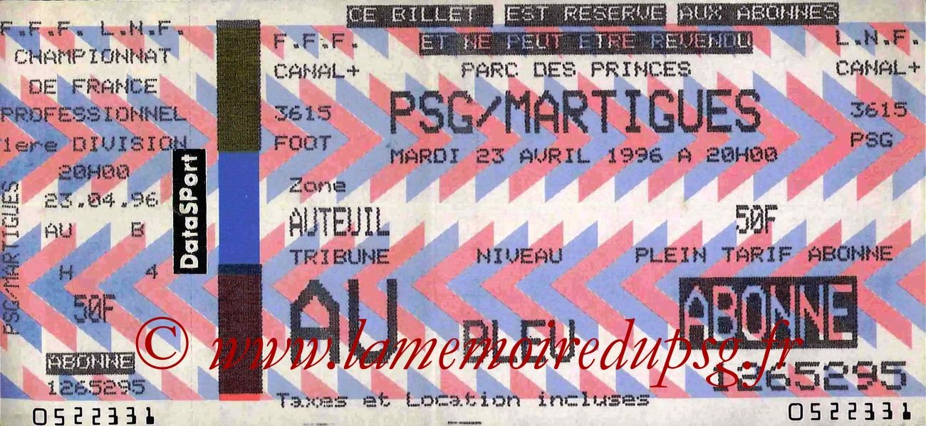 1996-04-23  PSG-Martigues (35ème D1, bis)