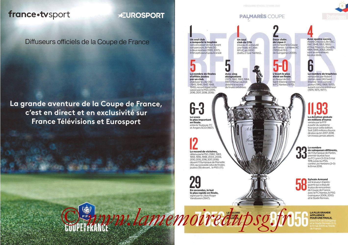 2019-04-27  Rennes-PSG (Finale CF au Stade de France, Programme officiel FFF) - Pages 08 et 09