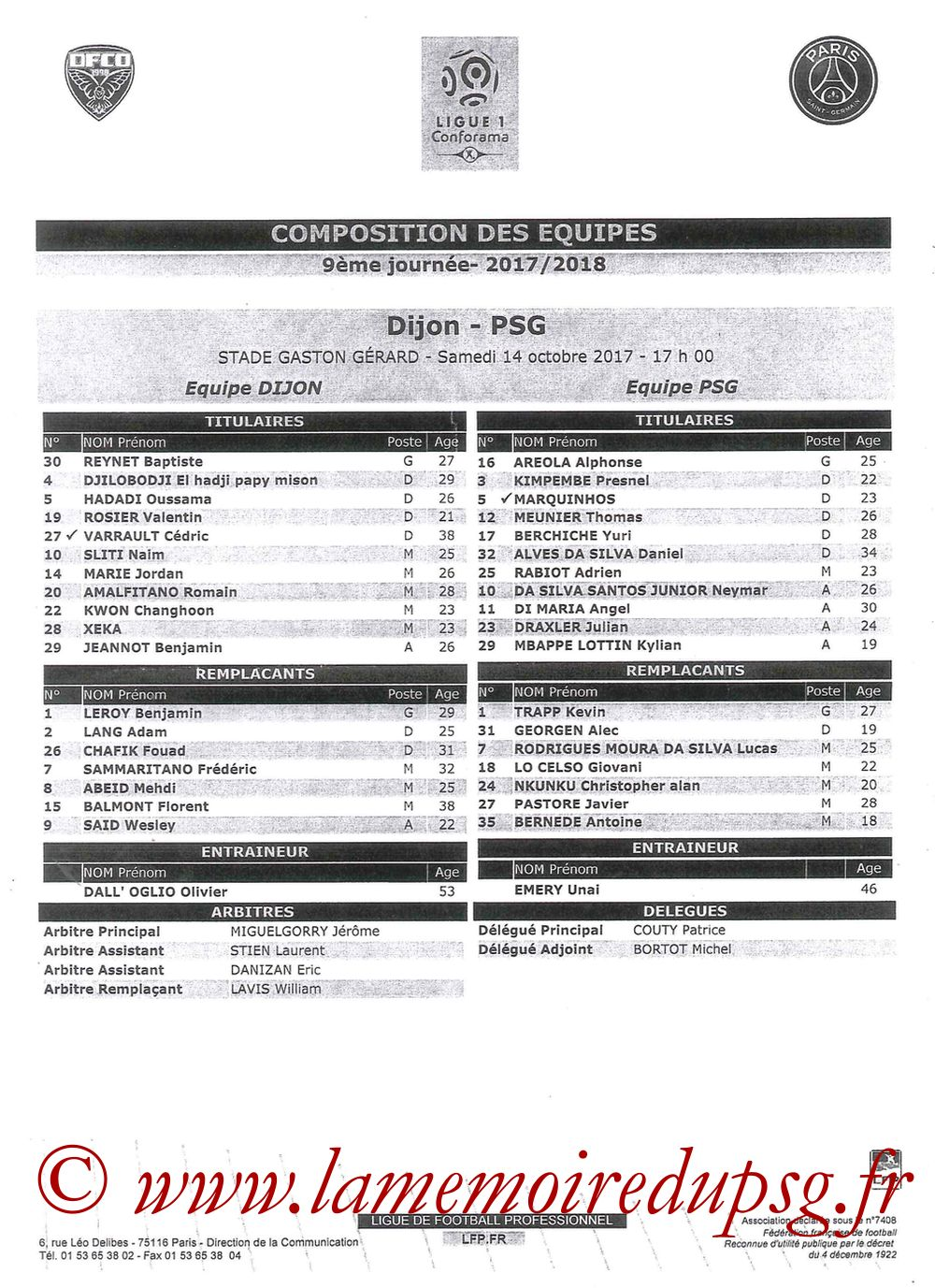 2017-10-14  Dijon-PSG (9ème L1, Feuille de match)