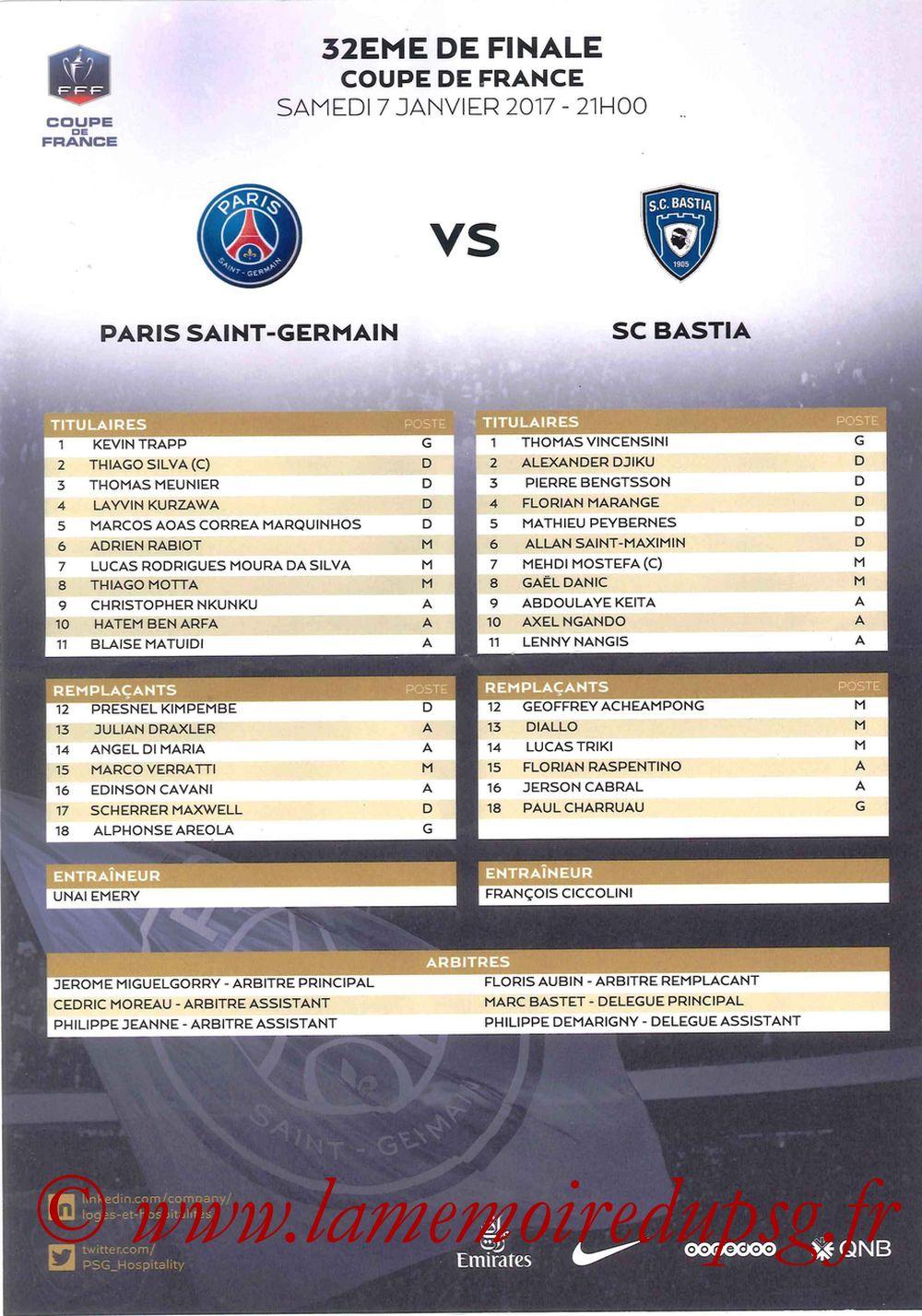 2017-01-07  PSG-Bastia (32ème CF, Feuille de match)