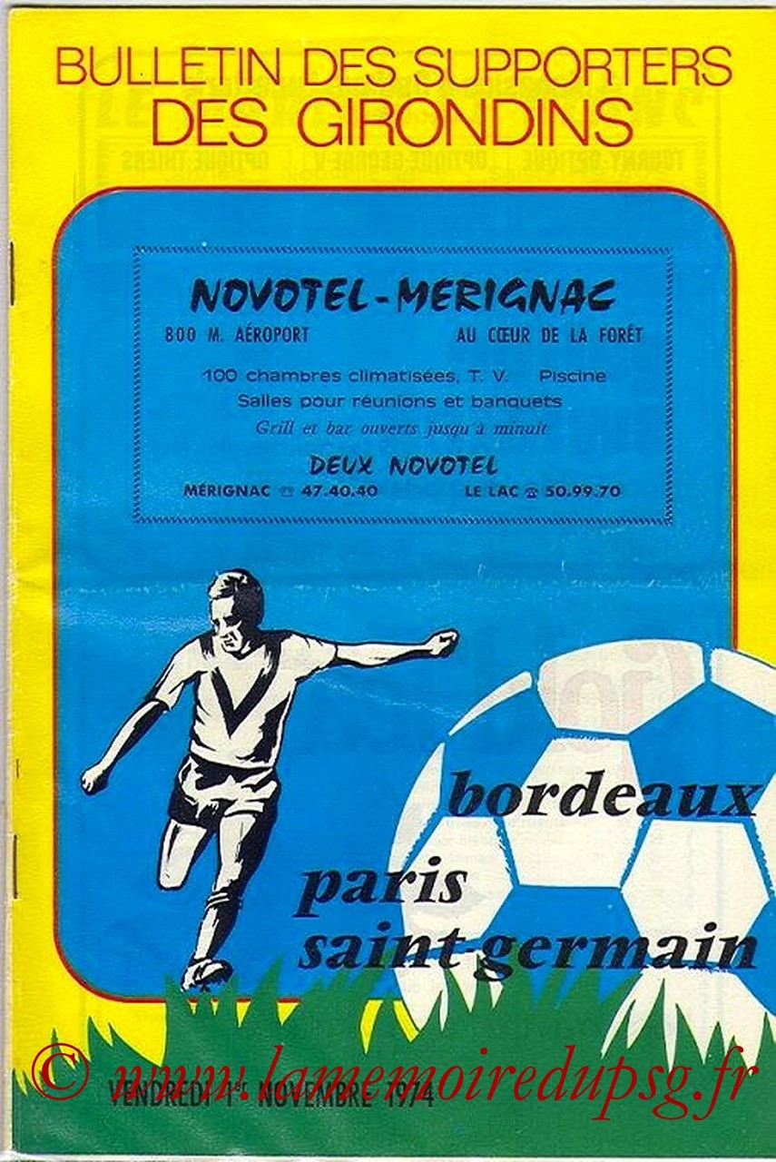 1974-11-01  Bordeaux-PSG (15eme D1, Bulletin des supporters N°8)
