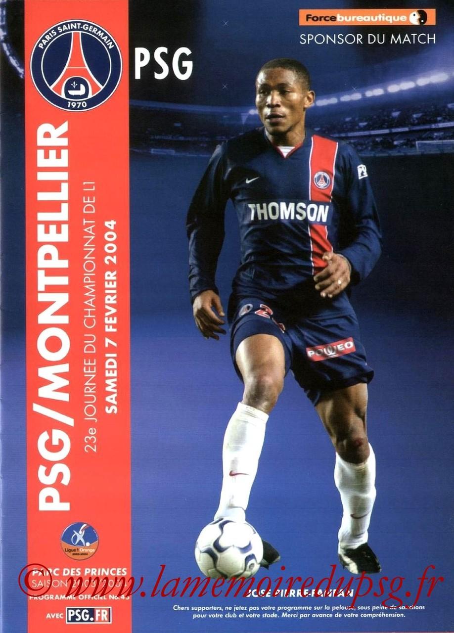 2004-02-07  PSG-Montpellier (23ème L1, Programme officiel N°45)