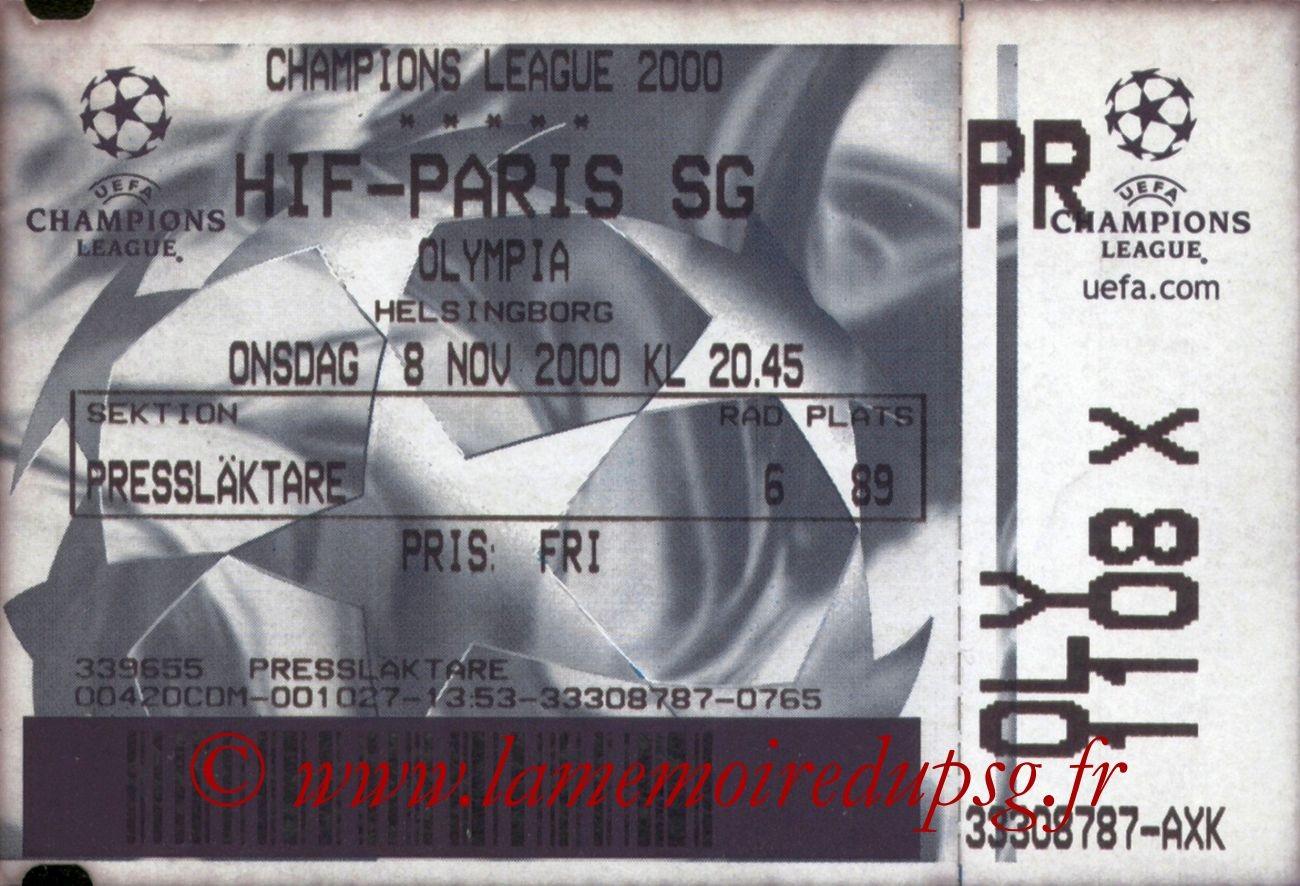 2000-11-08  Helsingborg-PSG (1ère Phase Poule C1, 6ème Journée)