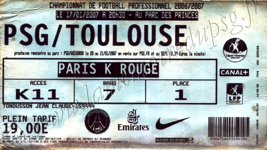 2007-01-17  PSG-Toulouse (16ème L1, match en retard)