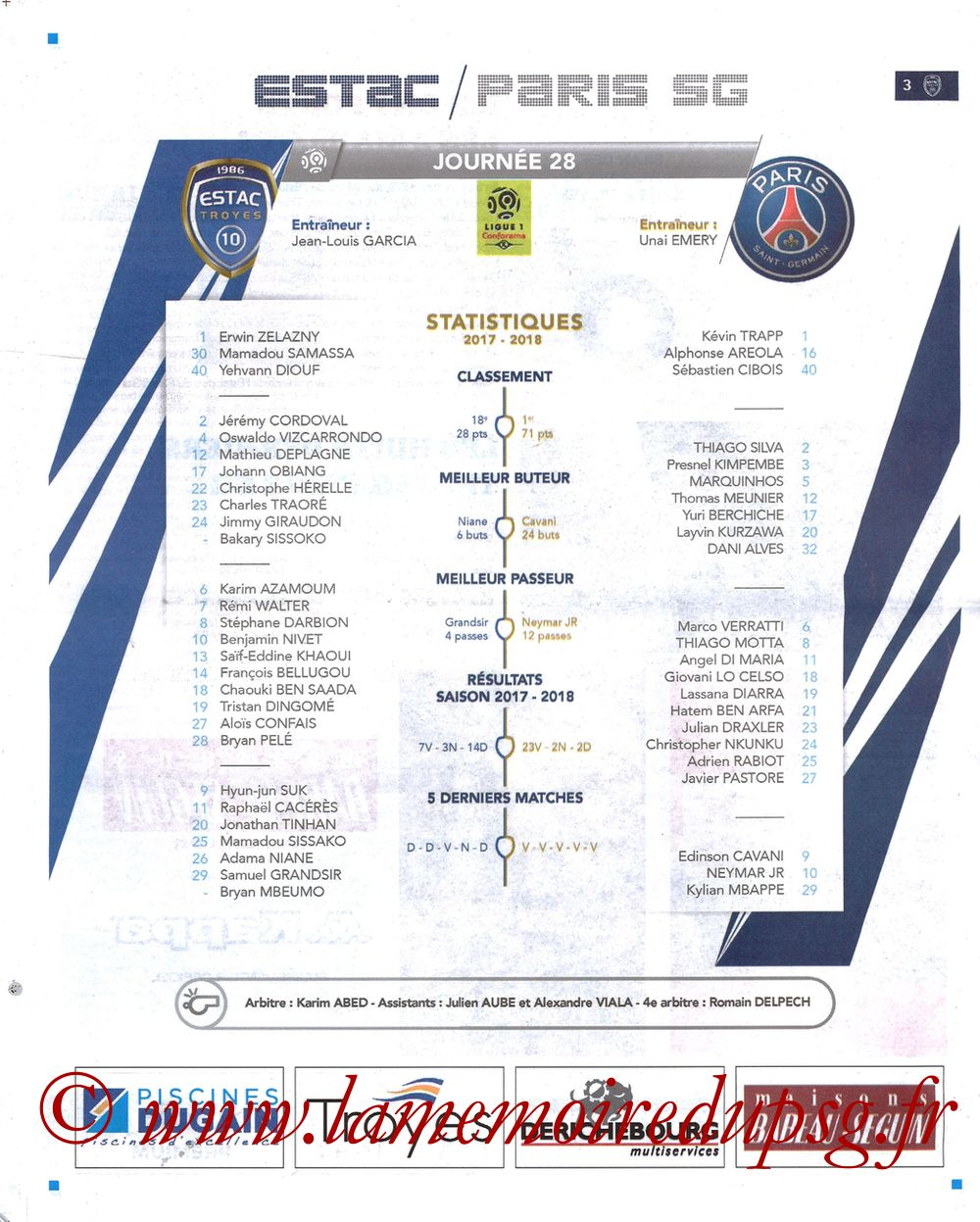 2018-03-03  Troyes-PSG (28ème L1, Bleu et Blanc N°15) - Page 03