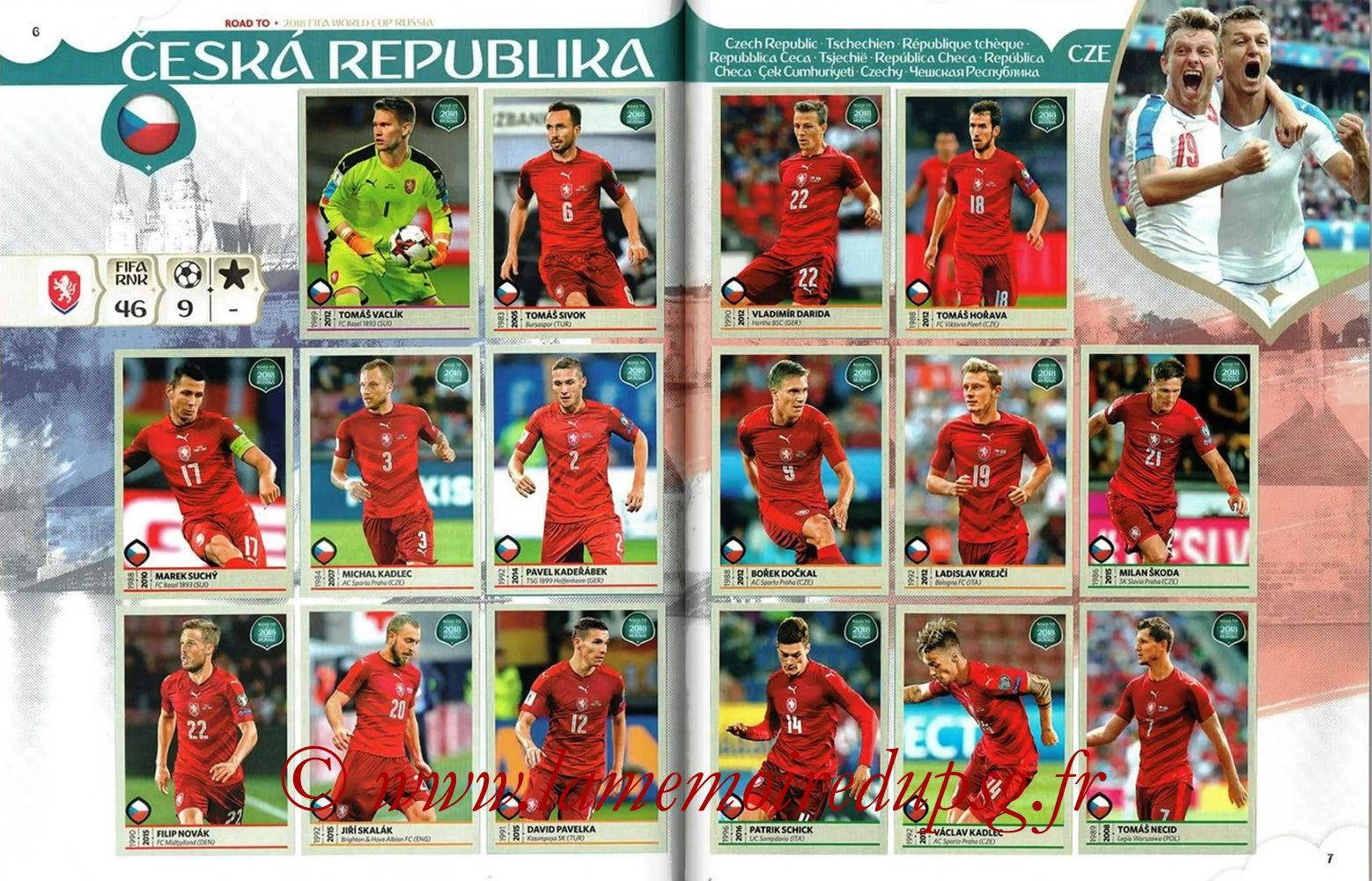 2018 - Panini Road to FIFA World Cup Russia Stickers - Pages 06 et 07 - République Tchèque