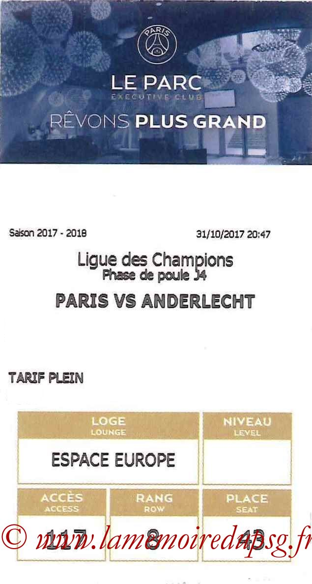 2017-10-31  PSG-Anderlecht (4ème C1, E-ticket Executive club 2)