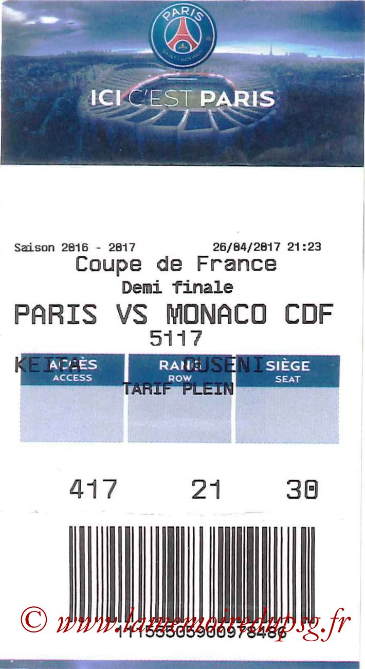 2017-04-26  PSG-Monaco (Demi-finale CF, E-ticket 2)