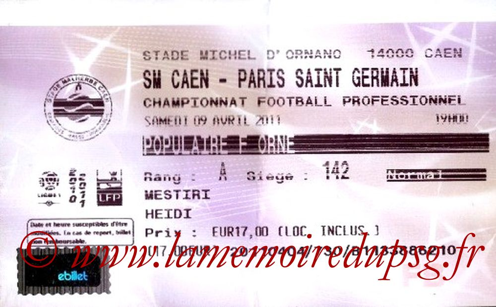 2011-04-09  Caen-PSG (30ème L1, Ticketnet)