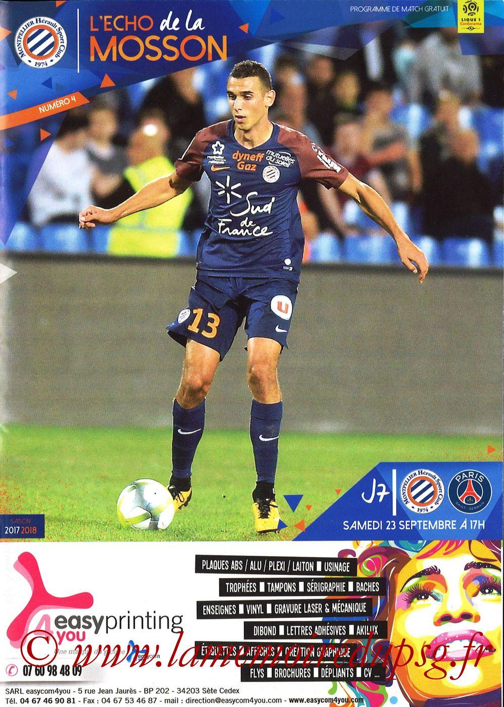 2017-09-23  Montpellier-PSG (7ème L1, L'Echo de la Mosson N°4)