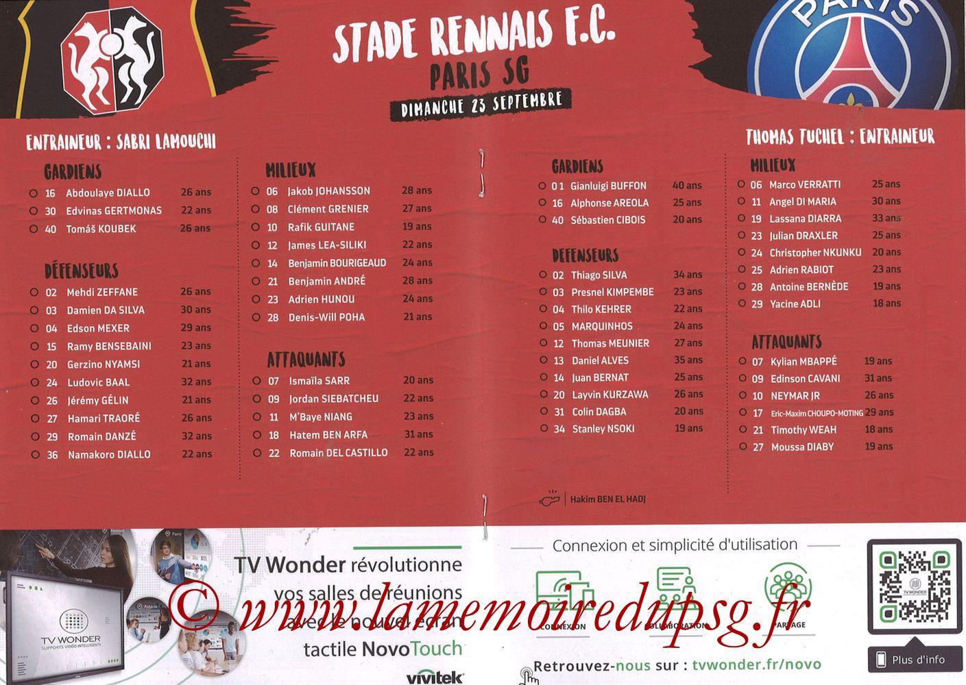 2018-09-23  Rennes-PSG (6ème L1, Programme officiel) - Pages 08 et 09