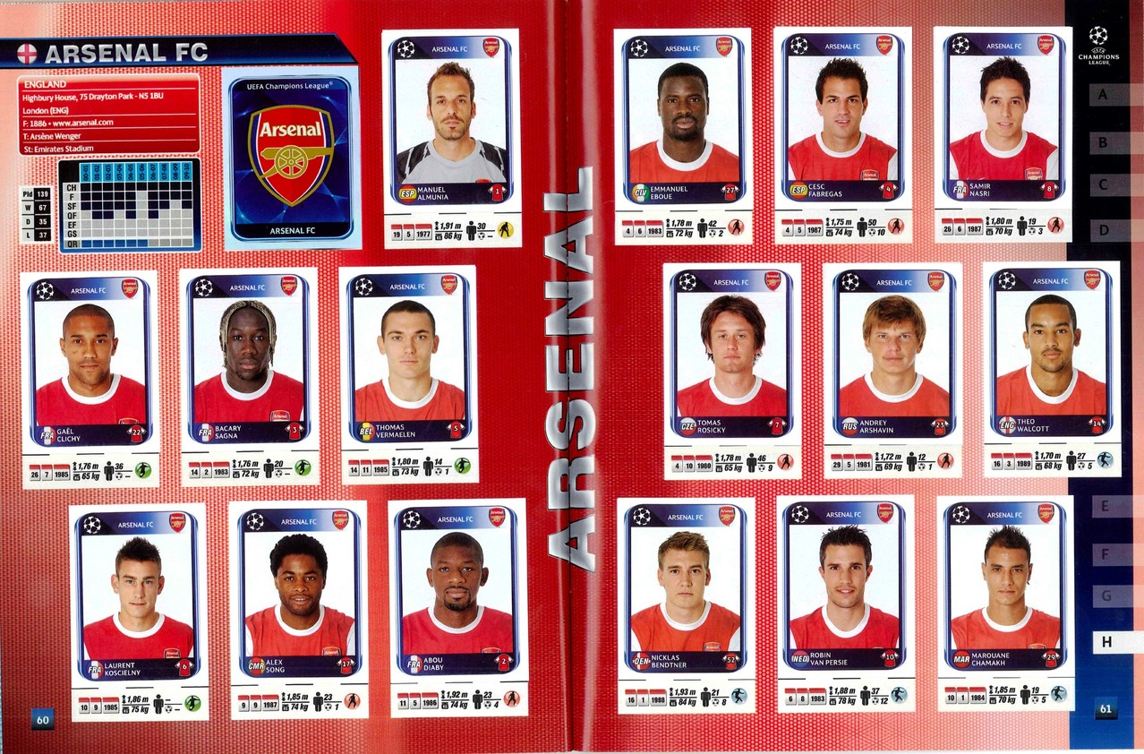 2010-11 - Panini Champions League - Pages 60 et 61 - Arsenal FC