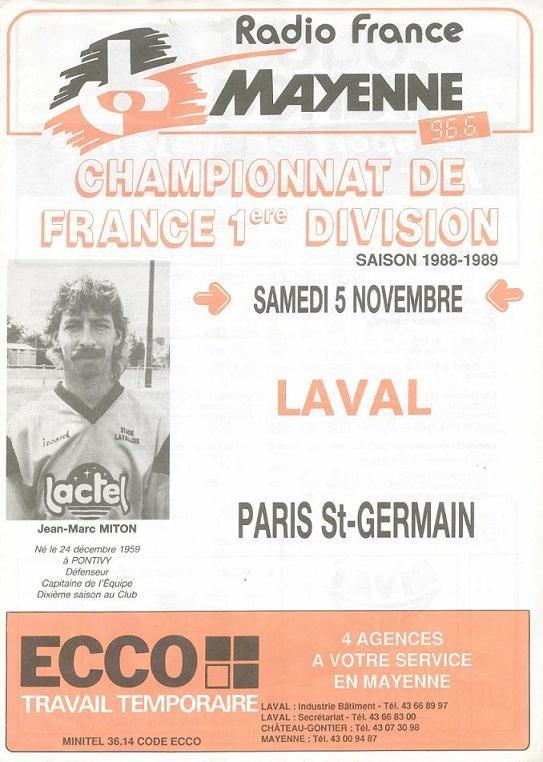 1988-11-05  Laval-PSG (18ème D1, Programme officiel)