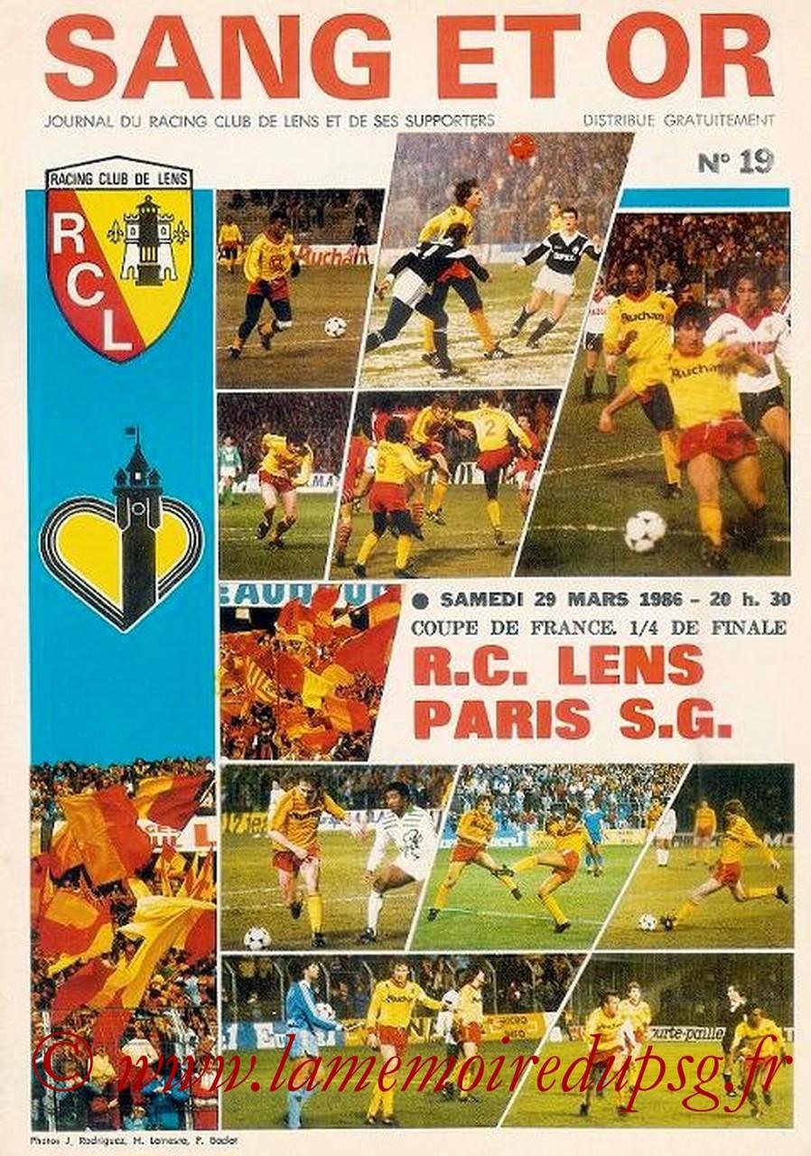 1986-03-29  Lens-PSG (Quart Finale Aller CF, Sang et Or N°19)