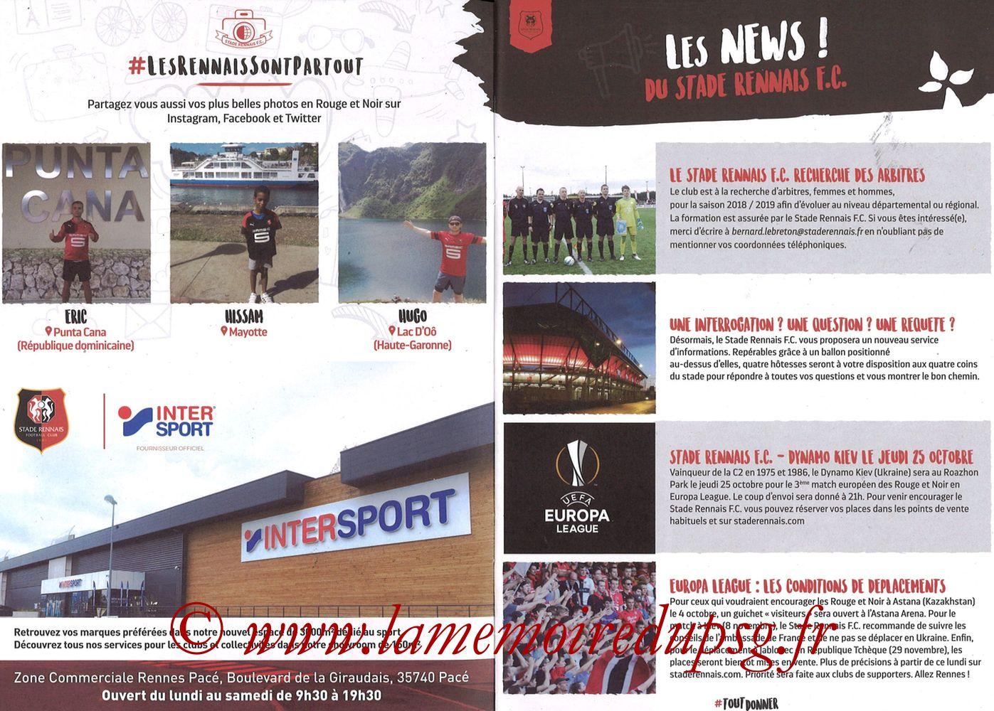 2018-09-23  Rennes-PSG (6ème L1, Programme officiel) - Pages 04 et 05