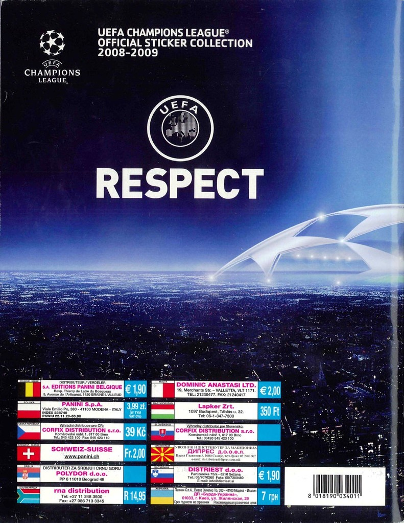 2008-09 - Panini Champions League - Dos d'album