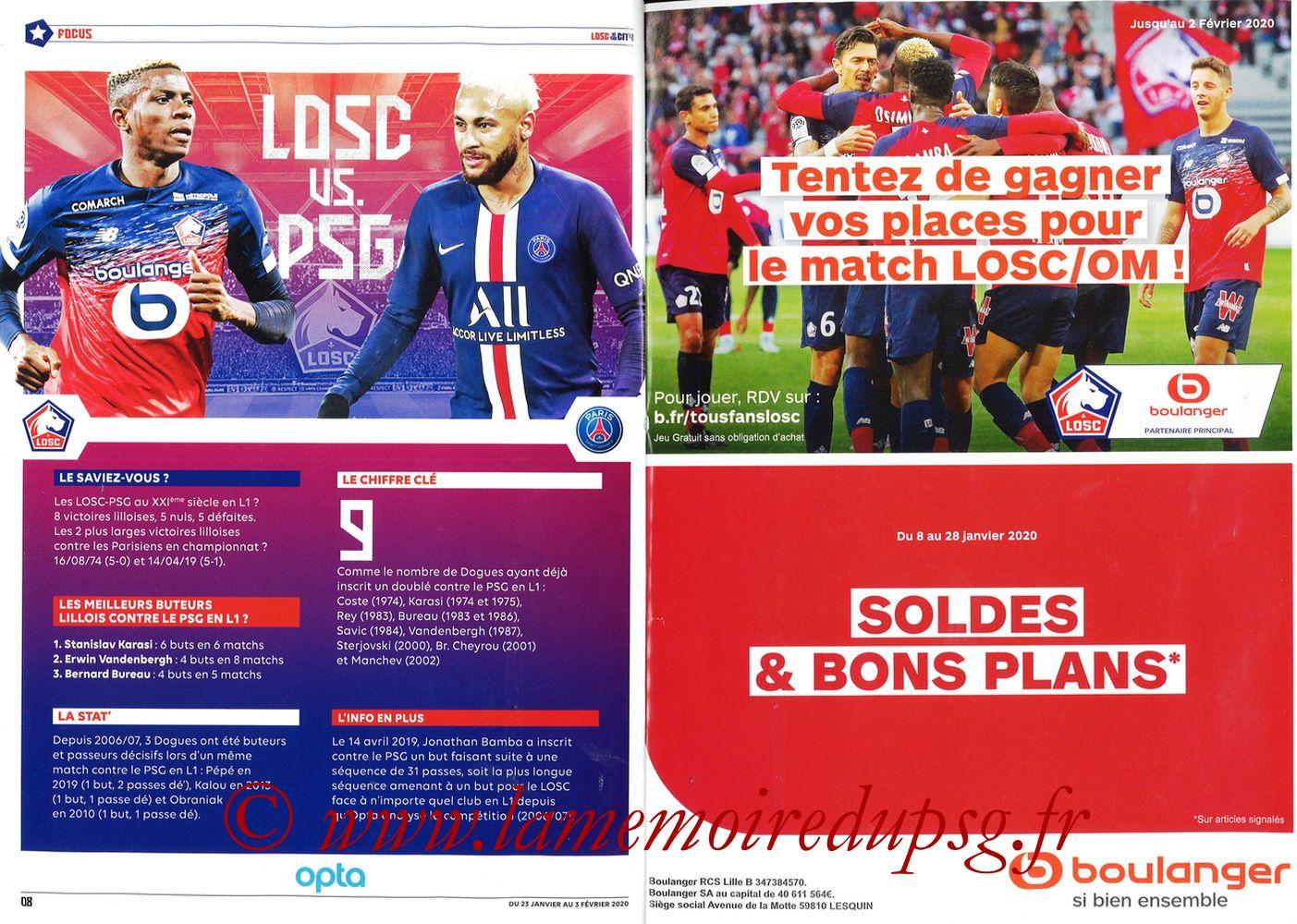 2020-01-25  Lille-PSG (21ème L1, Losc in the City N°41) - Pages 08 et 09