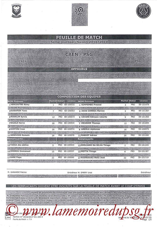 2016-09-16  Caen-PSG (5ème L1, Feuille de match)