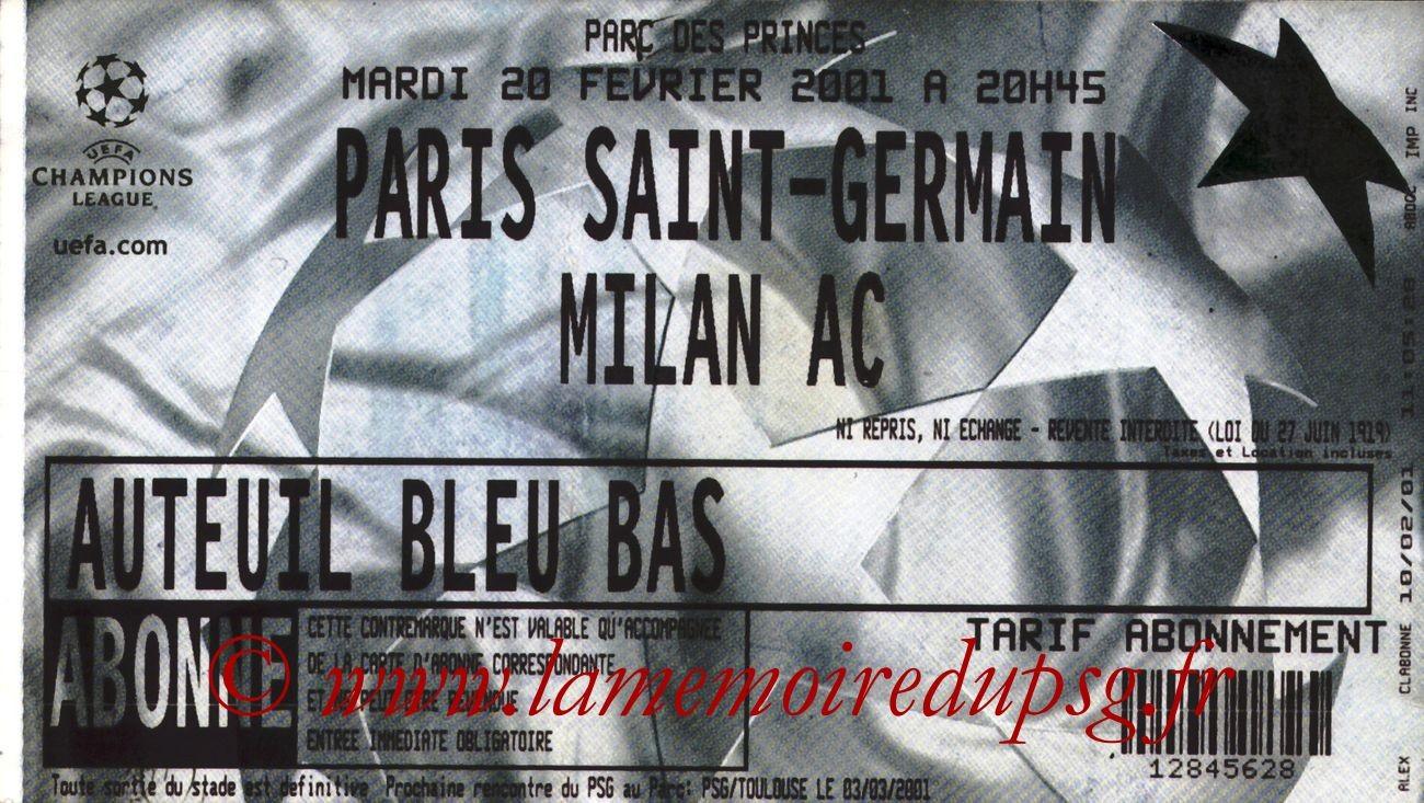 2001-02-20  PSG-Milan AC (2ème Phase C1, 4ème Journée)