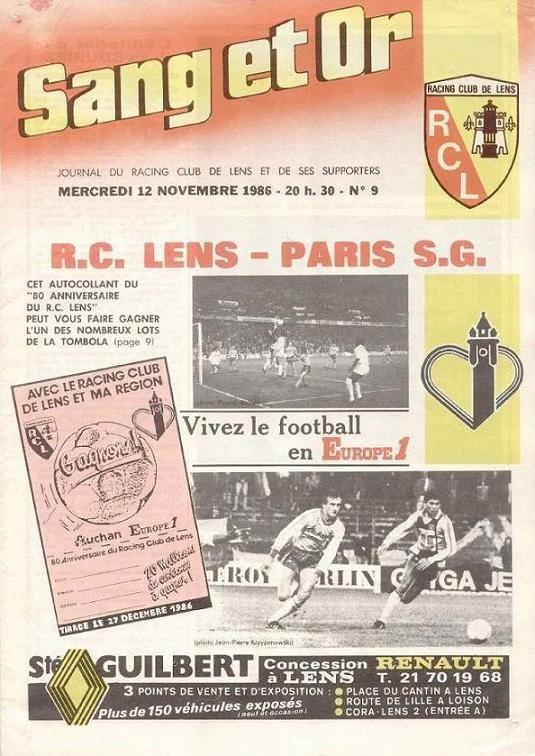 1986-11-12  Lens-PSG (17ème D1, Sang et or N°9)