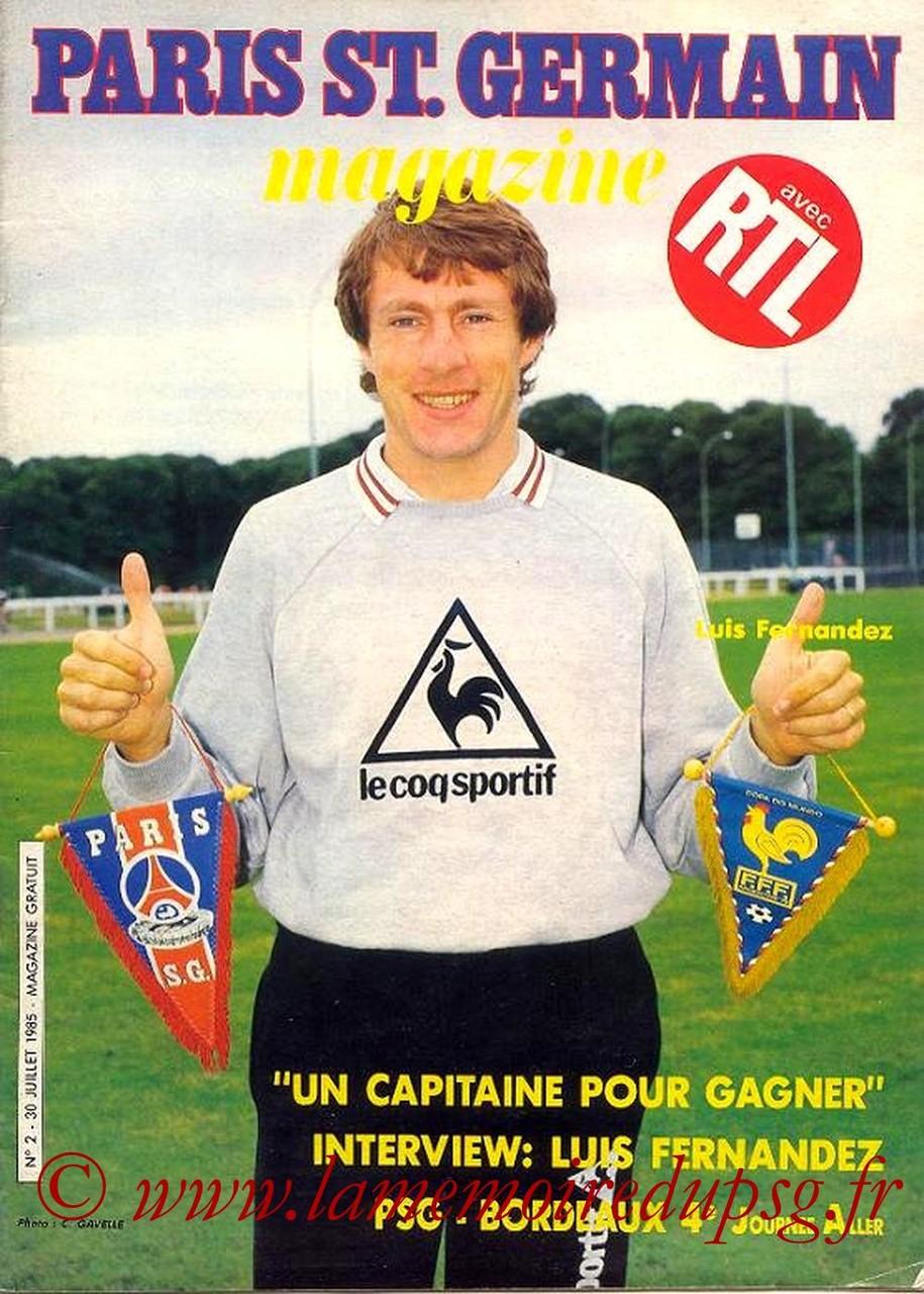 1985-07-30  PSG-Bordeaux (4ème D1, Paris St Germain Magazine N°2)