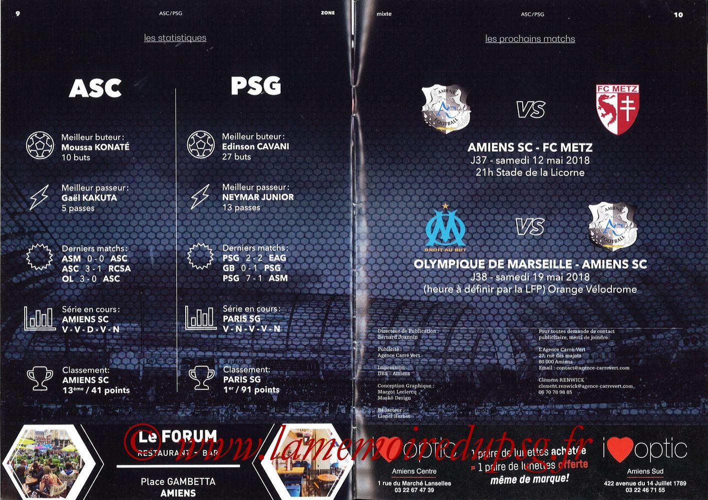 2018-05-04  Amiens-PSG (36ème L1, Zone Mixte N°13) - Pages 10 et 11
