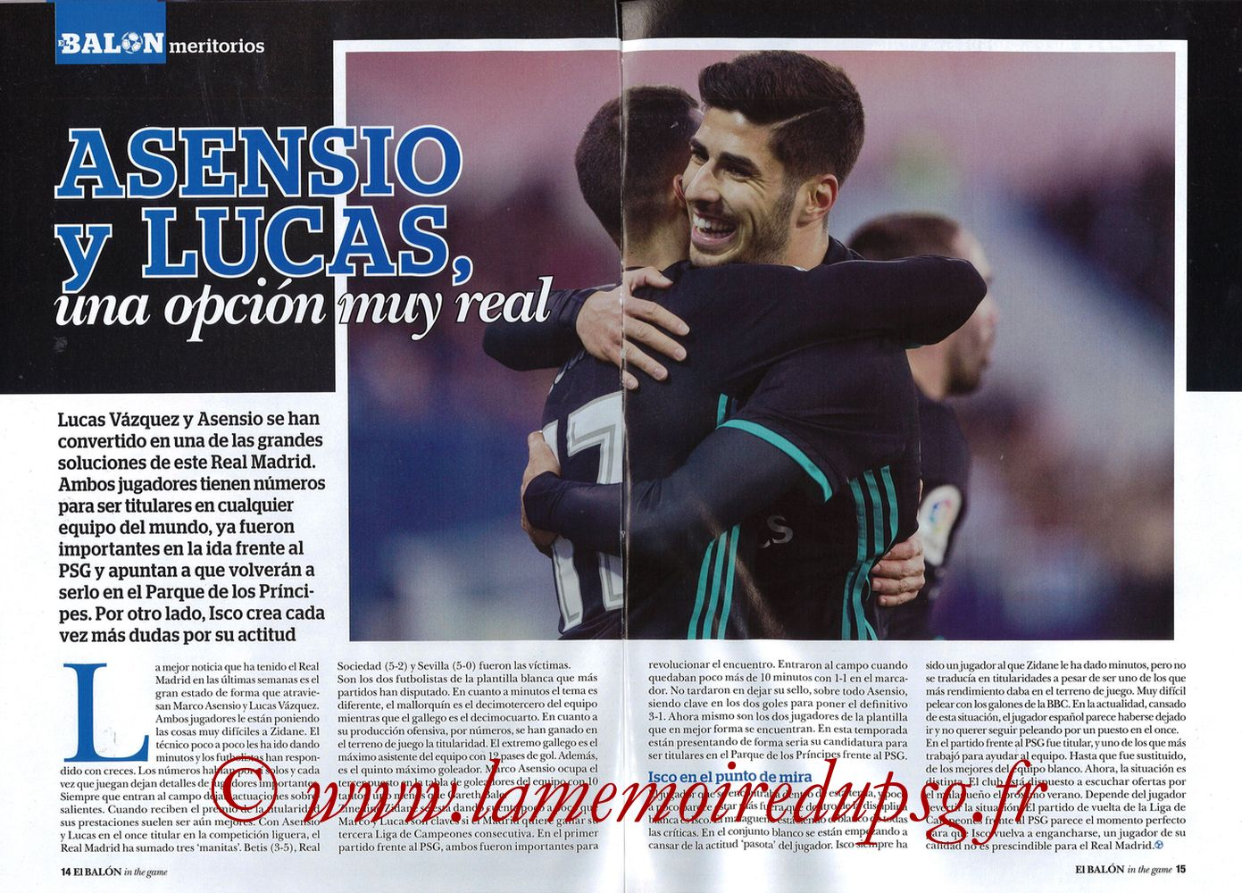 2018-03-06  PSG-Real Madrid (8ème Retourr C1, El Balon in the game N°49) - Pages 14 et 15