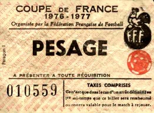 Ticket  Sochaux-PSG  1976-77