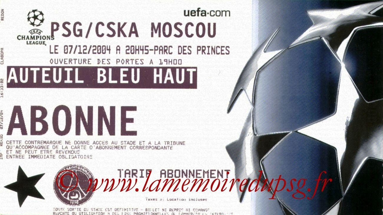 2004-12-07  PSG-CSKA Moscou (6ème Journée Poule C1)