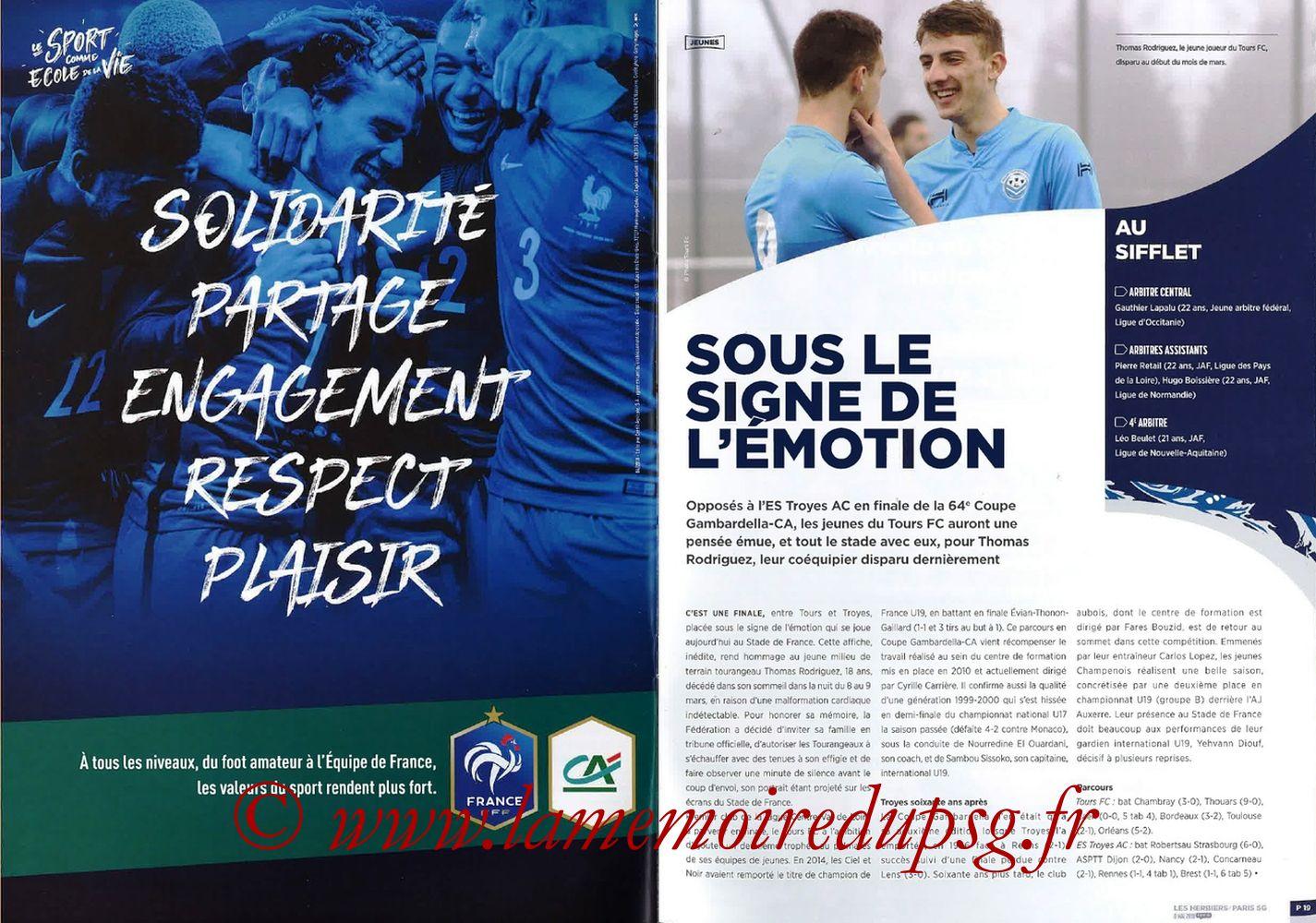 2018-05-08  Les Herbiers-PSG (Finale CF à Saint-Denis, Programme officiel FFF) - Pages 18 et 19