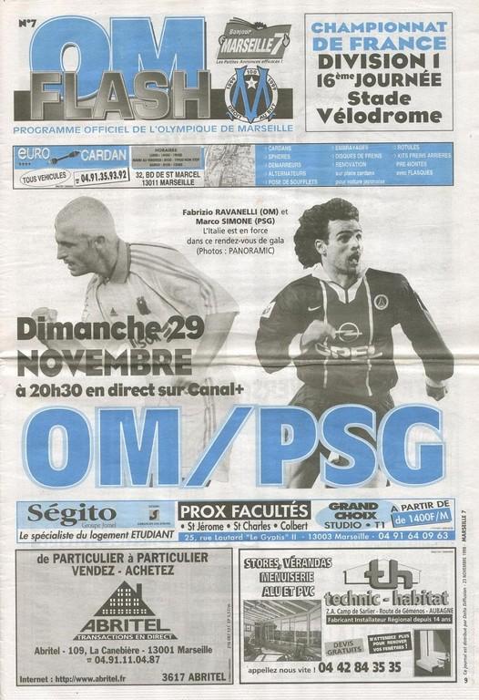 1998-11-29  Marseille-PSG (16ème D1, OM Flash N°7)