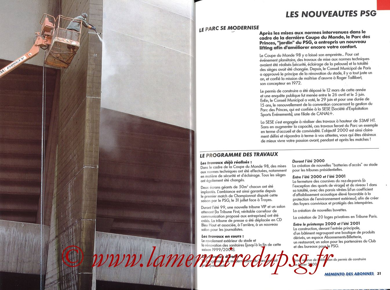 1999-00 - Guide de la Saison PSG - Pages 30 et 31