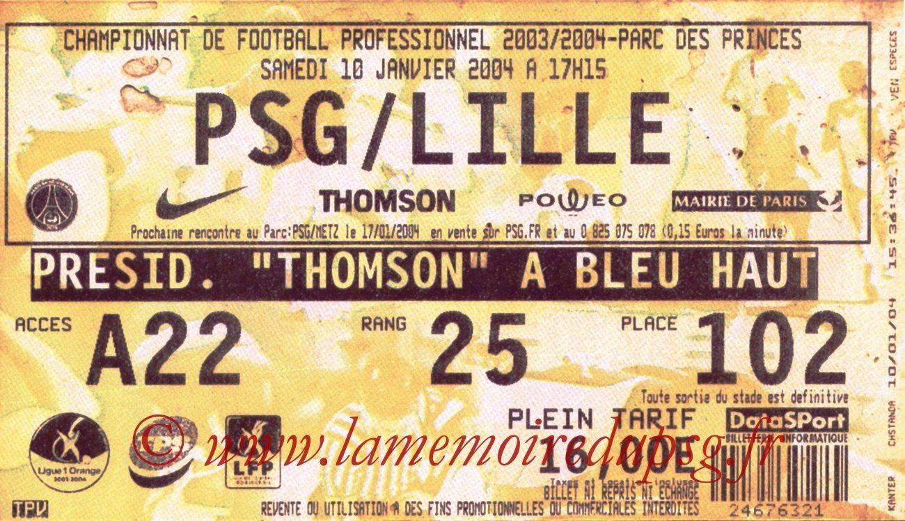 2004-01-10   PSG-Lille (20ème L1, bis)