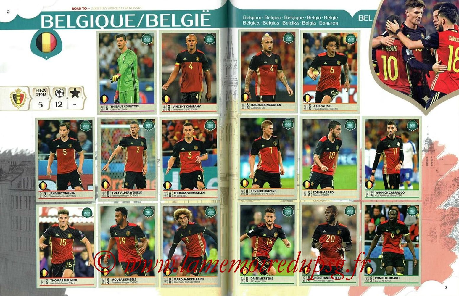 2018 - Panini Road to FIFA World Cup Russia Stickers - Pages 02 et 03 - Belgique