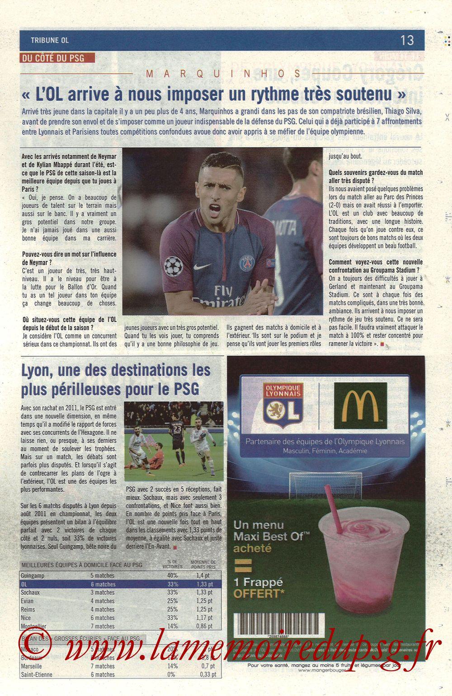 2018-01-21  Lyon-PSG (22ème L1, La Tribune OL N° 244) - Page 13